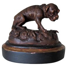 Antique German Black Forest Wood Carving of a Dog, Puppy
