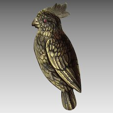 Art Deco Parrot Vanity or Desk Tray, Brass with Glass Eye