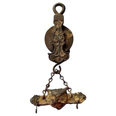 Rare Antique Oil or Kerosene Lamp Pulley with Owl, Architectural Hook
