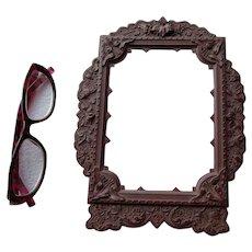 Large Antique c1850s Gutta Percha Thermaplast Picture Frame