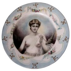 Antique Hand Painted French Limoges Plate with Nude, Anatomically Correct