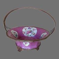 Lovely Antique Bronze & Porcelain Basket, Calling Card Receiver