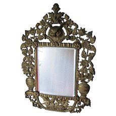 Antique Aesthetic Movement Mirror with Great Horned Owl & Flower Urns
