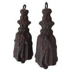 Pair Antique c1870s Victorian Cast Iron Tassel Gate Weights