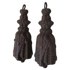 Pair Antique c1870s Victorian Cast Iron Tassel Gate Weights