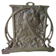 Lovely Antique Art Nouveau Expanding Bookends, Ladies with Flowers