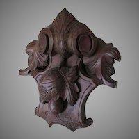 Antique c1880s Victorian Hand Carved Pediment, Architectural Element
