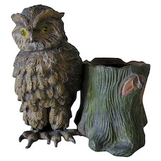 Antique Great Horned Owl Match Safe, Desk Accessory