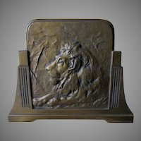 Antique Expanding Bookends with Lions