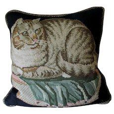 Charming Antique Needlepoint Pillow of a Cat