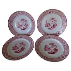 4 Antique Circa 1900 Red Transferware Plates, Cyrene by Adams