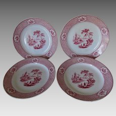 4 Antique Circa 1900 Red Transferware Plates, Cyrene by Adams