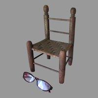 19thC Primitive Folk Art Miniature Chair, Doll or Teddy Bear