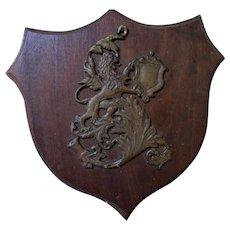 Antique Bronze Rampant Lion Plaque, English Heraldry