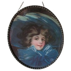 Pretty Antique German Flue Cover, Edwardian Lady with Blue Hat