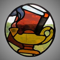 Antique Stained Glass Window Fragment, Aladdin Lamp & Book