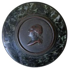 Antique French Bronze & Marble Desk Paperweight, King Louis XVI