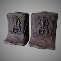 Antique Cast Iron Fraternal Bookends, Ancient Arabic Order Nobles Mystic Shrine
