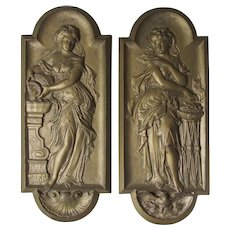 Antique Victorian Plaque with Lovely Ladies, Cast Iron Plaques