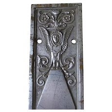 Antique Architectural Door Push Plate with Sphinx, Egyptian Revival