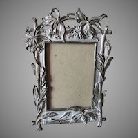 Pretty Antique Picture Frame with Iris Flower &  Bamboo Motif