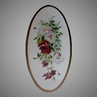 Beautiful Antique Victorian Oil Painting of Roses & Bubble Bees, Signed