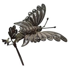 Lovely Antique Art Nouveau Butterfly Hair Comb, Hatpin Fascinator