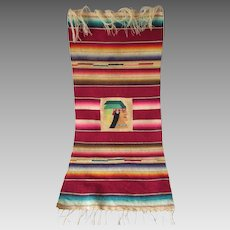 Unusual c1920s Chimayo Mat with Native American Indian Chief