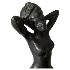 Art Deco Incense Burner, Nude Flapper by Ronson