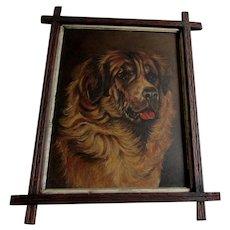 Antique 19thC Folk Art Oil Painting of a Saint Bernard Dog