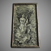 Pretty Antique French Silk Tapestry, Stevensgraph, Couple Crossing Stream