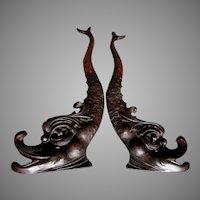 Pair c1880s Antique Architectural Elements, Hand Carved Oak Dolphins