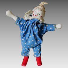 Schoenhut Clown in Blue Polka Dot Original Costume, Humpty Dumpty Circus