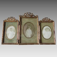 Petite Triple, French Victorian Picture Frame, Vanity or Desk Accessory