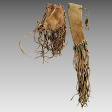 Old Native American Indian Leather Bags, Pouches, Beadwork Long Fringe