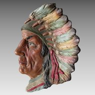 Antique Terra Cotta Native American Indian Plaque, Tray, Johann Maresch