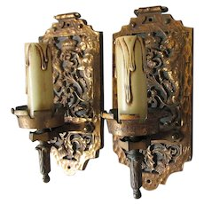 Antique Wall Sconces with Lion, Unicorn, Thistles, Scottish Heraldry Motif