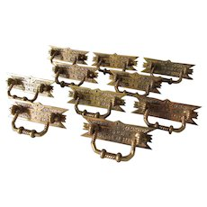 Set of 10 Victorian, Eastlake, Aesthetic Drawer Pulls, Architectural Handles