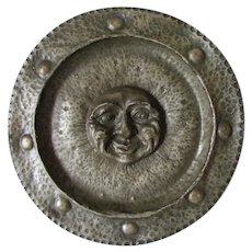 Antique Arts & Crafts Man in Moon Hammered Pewter Charger, Plate