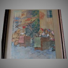 c1923 Watercolor Painting, Middle Eastern Bazaar, Signed & Dated 1923