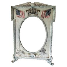 Antique Military Picture Frame, Spanish American or WWI Navy, Naval Nautical