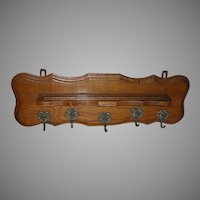 Antique Victorian, Edwardian Golden Oak Shelf with Cherub Hooks