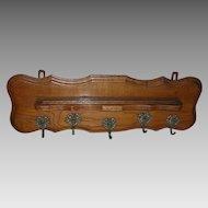Antique Victorian, Edwardian Golden Oak Shelf with Cherub Hooks