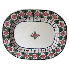 Adams Royal Ivory Titian Ware Platter Hand Sponged, Painted Roses