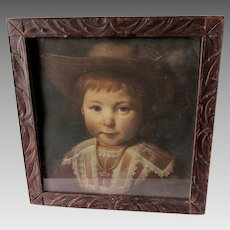 Antique Print of a Shy Little Boy,  Hand Carved Picture Frame