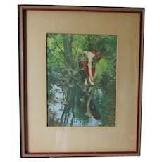 c1908 Art Nouveau Print, By the Sprint Streamlet, Anders Zorn, Impressionist Art