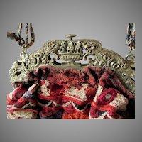 Beautiful Antique Edwardian Handbag Frame with Roses, Flower Urns