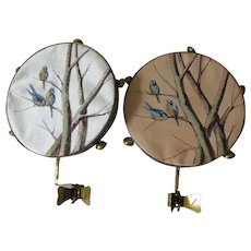 Pair Lovely c1880s French Silk Candle Shades, Hand Painted Tambourines
