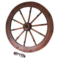 Antique Wood Wagon Wheel, Spinning Wheel Architectural Hooks