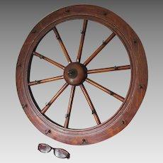 Antique Wood Wagon Wheel, Spinning Wheel Architectural Hooks
